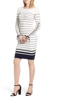 Bishop + Young Marissa Stripe Lace-Up Sleeve Sweater Dress