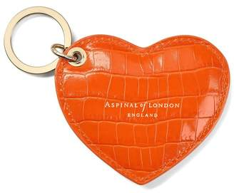 Aspinal of London Heart Key Ring In Deep Shine Amber Small Croc