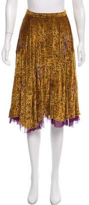 Etro Velvet-Accented A-Line Skirt