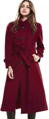 Escalier Women's Winter Double Breasted Wool Blend Long Trench Overcoat with Belt