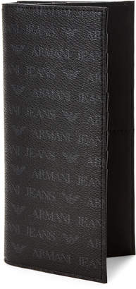 Armani Jeans Black Logo Faux Leather Pocket Wallet