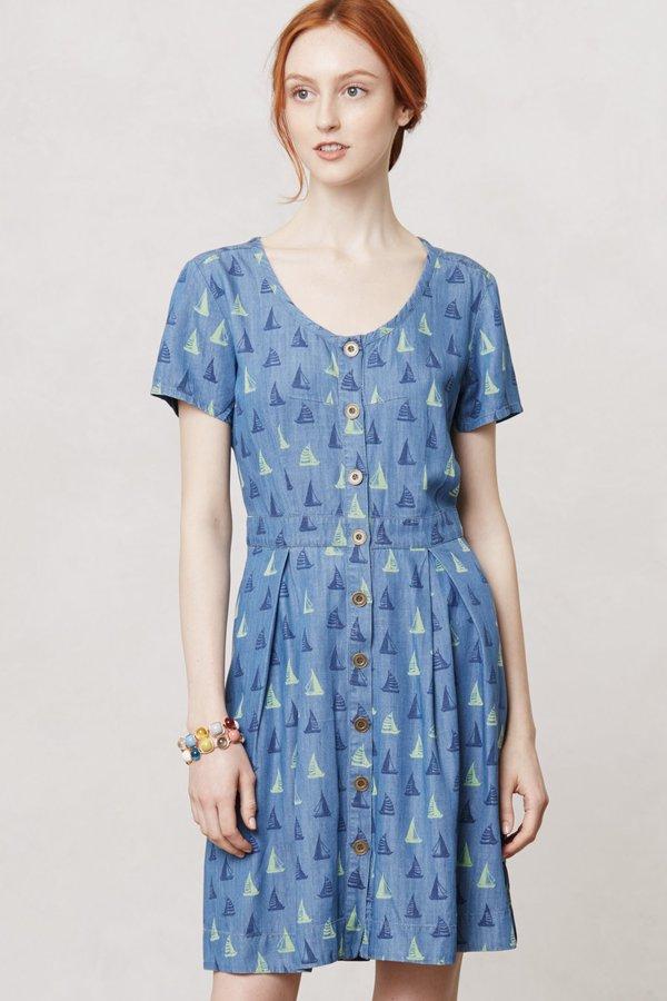 Anthropologie Topsail Chambray Shirt Dress