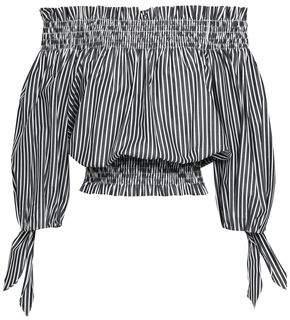Caroline Constas Off-the-shoulder Striped Cotton Top