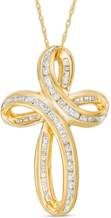 Zales 3/4 CT. T.W. Baguette and Round Diamond Loop Cross Pendant in 10K Gold