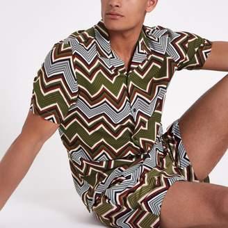 River Island Mens Khaki zig zag print shirt
