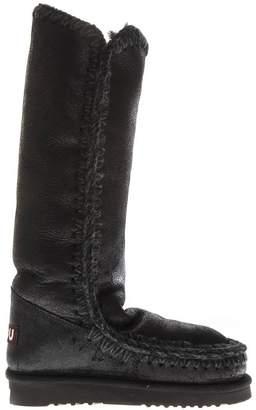 Mou Eskimo Metallic Black & Grey Leather Boots