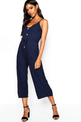 boohoo Mock Horn Button Strappy Rib Jumpsuit