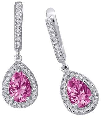 Lafonn Platinum Plated Sterling Silver Simulated Pink Sapphire & Pave Simulated Diamond Pear Drop Earrings