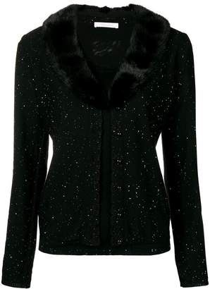 Blumarine fur collar cardigan