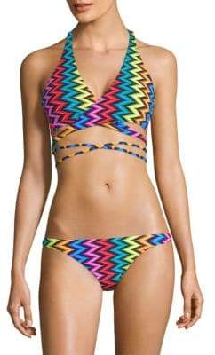 Chevron Halter Wrap Bikini Top