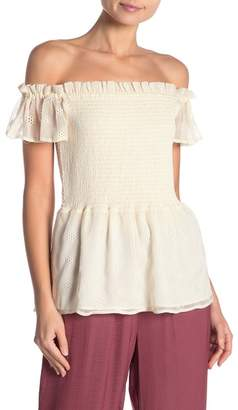 Vince Camuto Smocked Eyelet Top