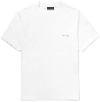 Balenciaga Printed Cotton-Jersey T-Shirt $350 thestylecure.com