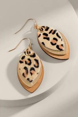 francesca's Lilliana Marquis Leopard Drop Earrings - Leopard