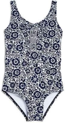 Splendid Girls' Floral Print Lace-Up Swimsuit