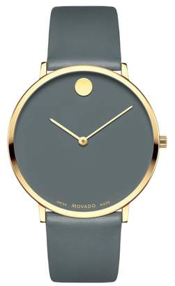 Movado Ultra Slim Museum Dial Leather Strap Watch, 40mm