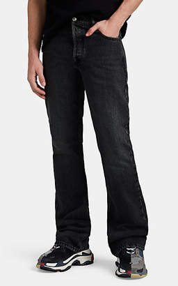 Balenciaga Men's Faded Boot-Cut Jeans - Black