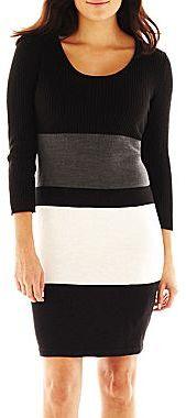 Studio 1 Striped Colorblock Sweater Dress