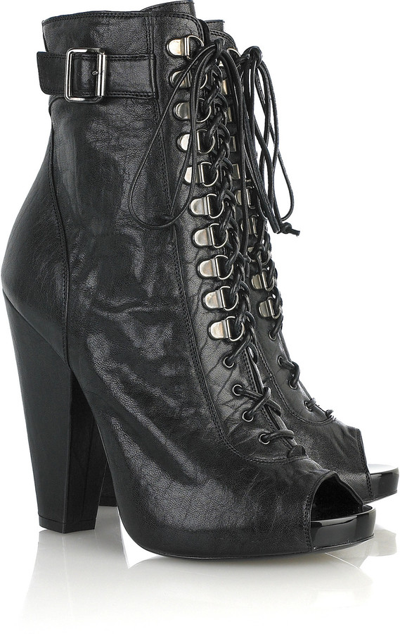 Givenchy Lace-up textured leather boots