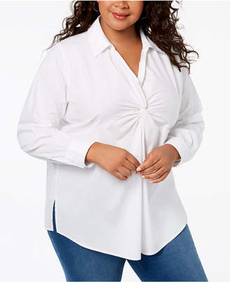 NY Collection Plus Size Front Knot Shirt