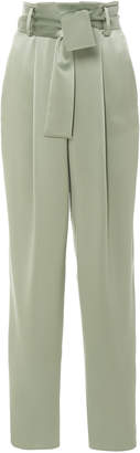 Sally LaPointe Belted High-Waisted Satin Tapered Pants
