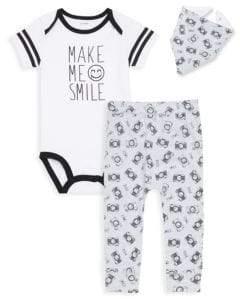Baby Boy's Three-Piece Bodysuit, Printed Pants and Bib Set