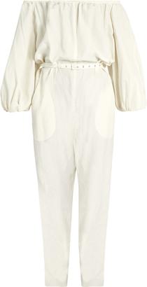 RACHEL COMEY Off-the-shoulder silk and linen-blend jumpsuit $708 thestylecure.com