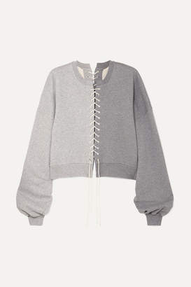 Unravel Project Lace-up Cotton-jersey Sweatshirt - Gray