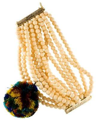 Rosantica Pom Pom & Resin Beaded Multistrand Bracelet