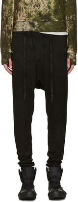 11 by Boris Bidjan Saberi Black Coated Sarouel Lounge Pants $545 thestylecure.com