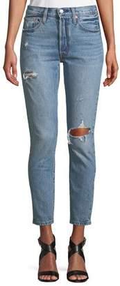Levi's Premium 501 Distressed Ankle Skinny Jeans