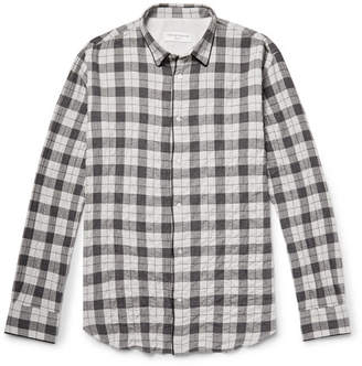 Officine Generale Checked Textured Cotton-Blend Flannel Shirt