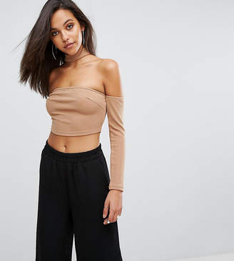 Parallel Lines Off Shoulder Long Sleeve Top With Choker Neck