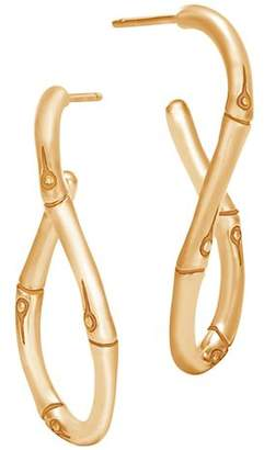 John Hardy 18K Yellow Gold Bamboo Twisted Hoop Earrings