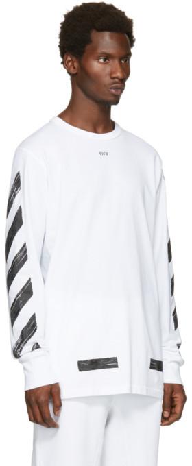 Off-White White Diagonal Brushed T-Shirt 2