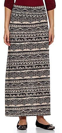 Living Doll Tribal-Printed Knit Maxi Skirt
