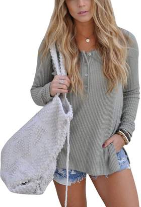 Walant Womens Casual Long Sleeve Split Knitted Sweater Solid Color Henley Shirt Tops
