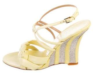 Valentino Leather Strap Wedge Sandals