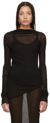 Rick Owens Lilies Black Backless T-Shirt Mini Dress