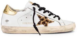 Golden Goose Superstar Sneaker in White Leather, Gold & Leopard | FWRD