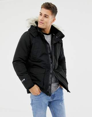 Hollister all weather faux fur trim & lining hooded parka in black