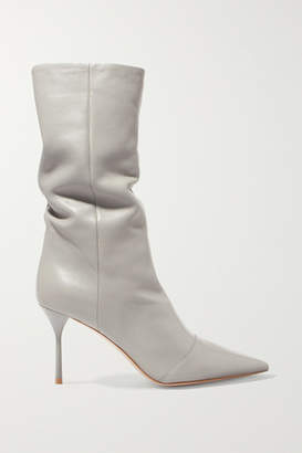 Miu Miu Leather Boots - Gray