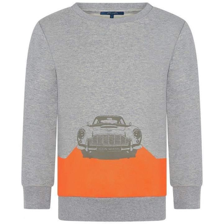 Aston MartinBoys Grey Car Print Sweater