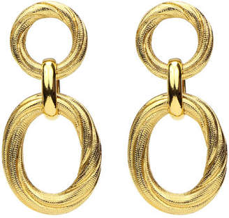 Ben-Amun Textured Hoop Post & Oval Drop Earrings