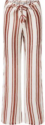 Tory Burch Kellen Striped Linen-gauze Wide-leg Pants - Brown