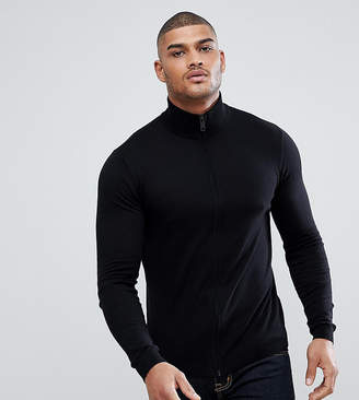 Asos Tall Knitted Muscle Fit Track Jacket In Black