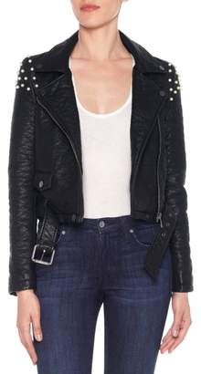 Joe's Jeans Taylor Embellished Faux Leather Moto Jacket