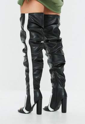 Missguided Black Stripe Peep Toe Ruched Over The Knee Boots
