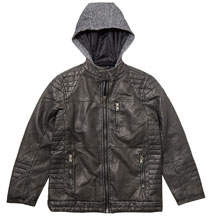 Faux-Leather Hooded Jacket Gray sizes 8-20