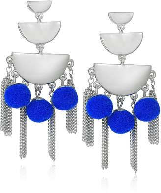 Rebecca Minkoff Triple Tier Chandelier with Tassel and Pom Fringe Silver / Blue Earrings
