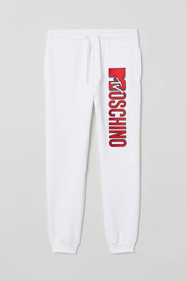 H&M Embroidered Joggers - White